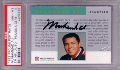 Muhammad Ali certified autograph 1992 Pro Line card PSA/DNA PSA 8