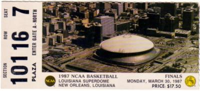 1987 NCAA Final Four Championship Game ticket stub (Indiana 74 Syracuse 73)