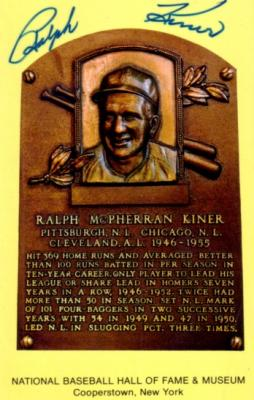 Ralph Kiner autographed Baseball Hall of Fame plaque postcard