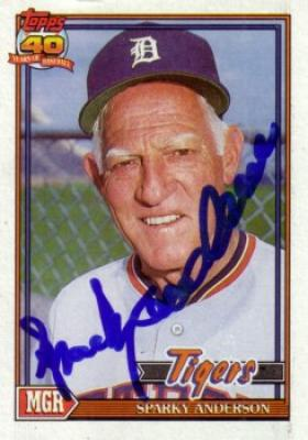 Sparky Anderson autographed Detroit Tigers 1991 Topps card