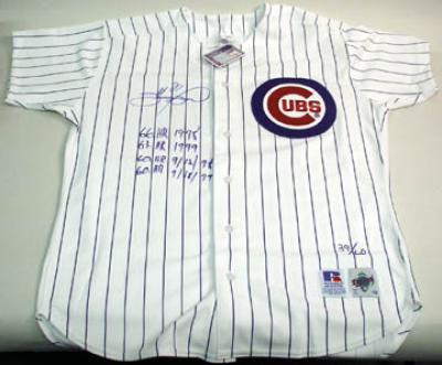 Sammy Sosa autographed Chicago Cubs game jersey inscribed 60/60 HR ltd edit 60
