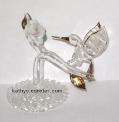 Spun Clear Glass Hummingbird & Rose Bird Figurine