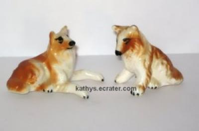 Miniature Sitting Collie Puppies Dog Family Animal Figurine