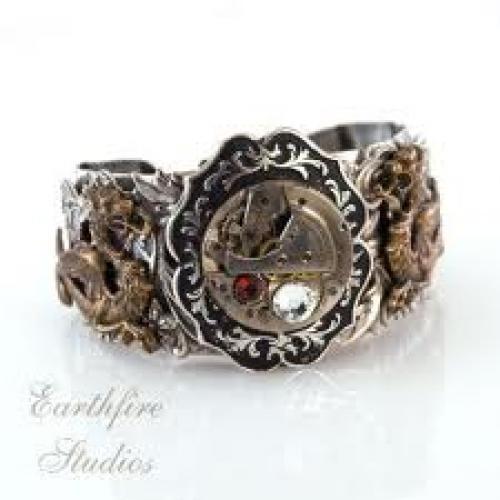 Steampunk Cuff Bracelet - Jewelry - Brass Dragon Vintage