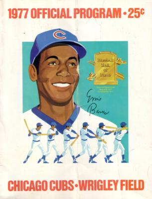 Ernie Banks 1977 Chicago Cubs scorecard program