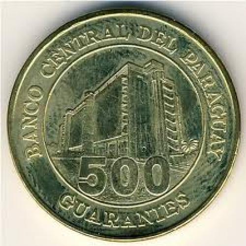 Coins; Paraguay, 500 guaranies, 19972005