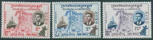 Sihanoukville harbour 3v; Year: 1960