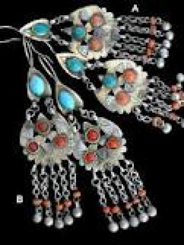 Old Turkmen Tribal Jewelry Vintage Earrings