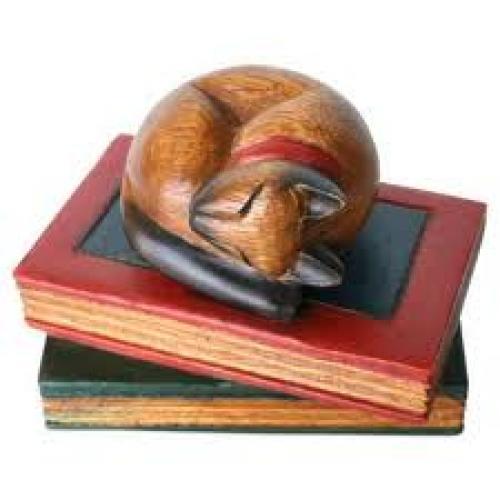 "Handmade ""Sleeping Cat"" Decorative Carved Wood"