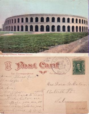 1909 Harvard Stadium postcard