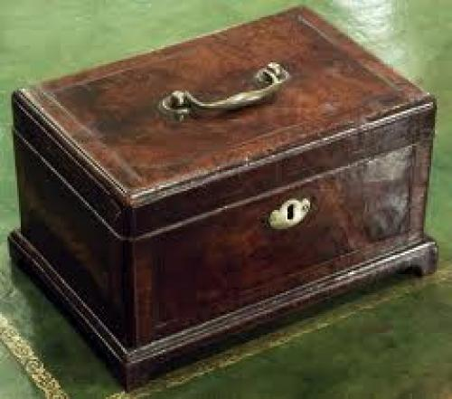 Antique walnut tea caddy