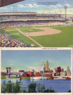 Cincinnati Reds Crosley Field 1940s postcard size photo