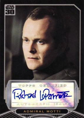 Richard LeParmentier Star Wars certified autograph card