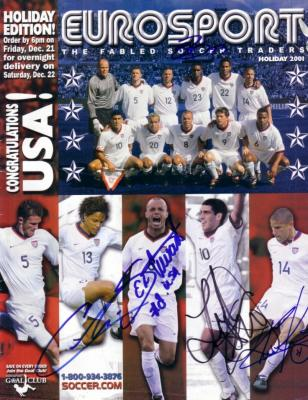 Landon Donovan Cobi Jones Chris Armas Eddie Pope Earnie Stewart autographed 2001 US Soccer cover