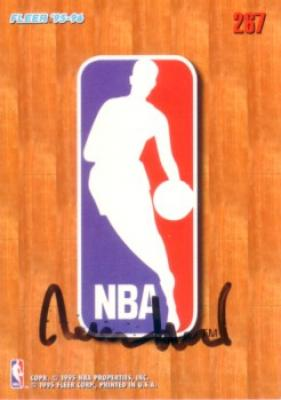 Jerry West (Lakers) autographed 1995-96 Fleer NBA logo card