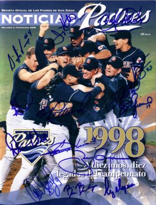 1998 San Diego Padres team autographed program Kevin Brown Steve Finley Tony Gwynn