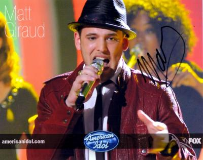 Matt Giraud autographed 8x10 2009 American Idol photo
