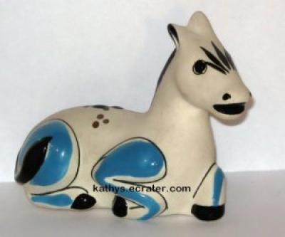 Mexico Handpainted Pottery Laying Donkey Animal Figurine