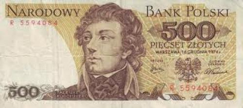 Banknote : Poland 500 currency