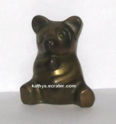Vintage Brass Sitting Panda Bear Animal Figurine
