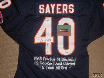 Gale Sayers autographed Chicago Bears UDA embroidered jersey inscribed ROY 65 #12/40