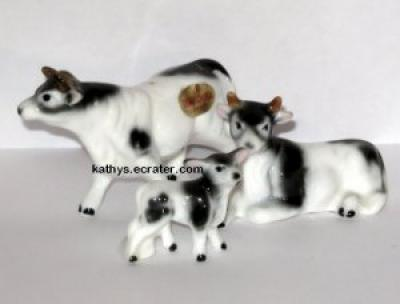 Miniature Bone China Black and White Cow Family Animal Figurine