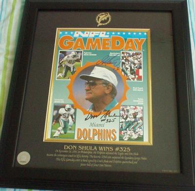 Don Shula &amp; Dan Marino autographed Win #325 Dolphins 1993 program cover matted &amp; framed