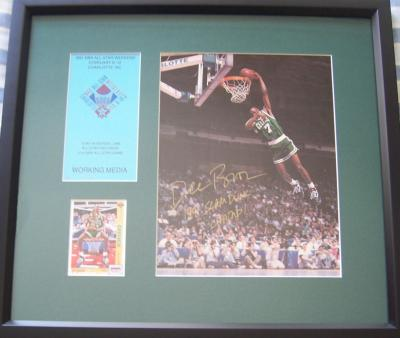 Dee Brown Autographed 1991 Nba Slam Dunk Photo Framed With Card Credential
