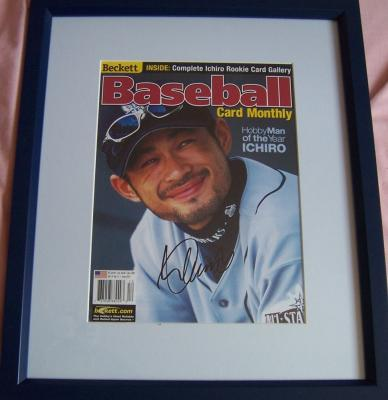 Ichiro Suzuki autographed Seattle Mariners Beckett Baseball cover framed