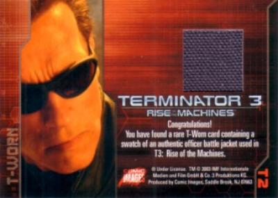 Terminator 3 Rise of the Machines T-Worn Battle Jacket card #T2 MINT