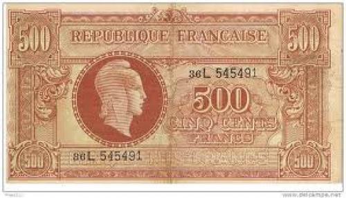 Banknotes;   France 1943-1945; 500 francs