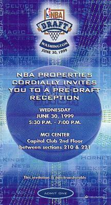 1999 NBA Draft reception invitation ticket (autographed by Tim Legler)