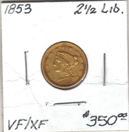 1853 Liberty 2 1/2 dollar gold piece