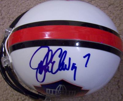John Elway autographed Hall of Fame mini helmet