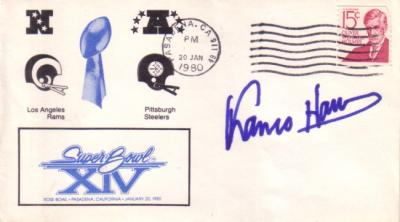 Franco Harris (Steelers) autographed Super Bowl 14 cachet envelope