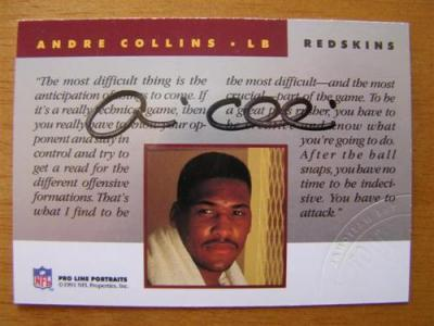 Andre Collins Redskins certified autograph 1991 Pro Line National Convention card
