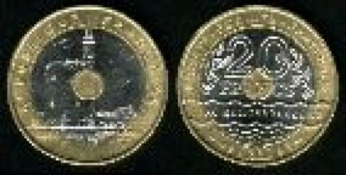 20 francs; Year: 1993;(km 1016); Mediterranean Games