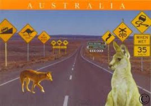 Postcard; Aussie Road Signs; Australia