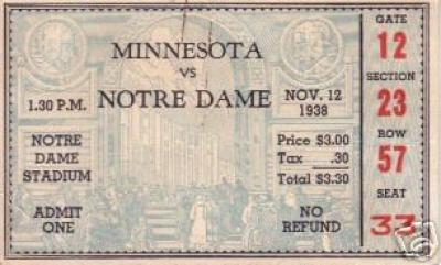 1938 Notre Dame vs Minnesota ticket stub (Irish 300th Victory)