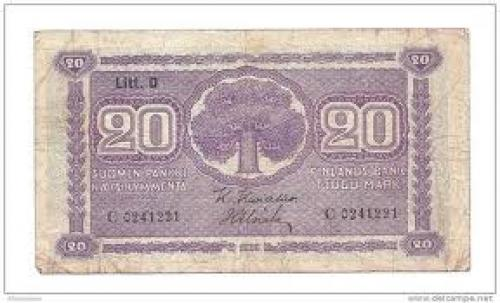 Banknotes; Finland 20 Markkaa 1939 (1939-45)