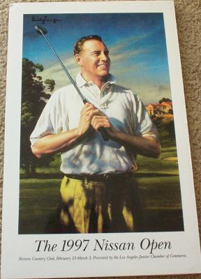 Billy Casper autographed 1997 Nissan Open program cover 11x17 artwork