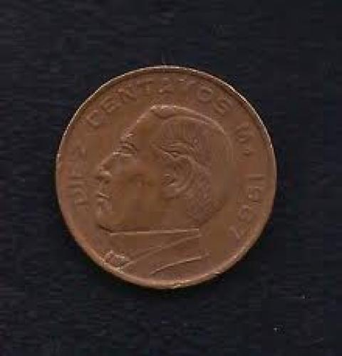 Coins; Mexico 10 Centavos 1967 Coin KM# 433