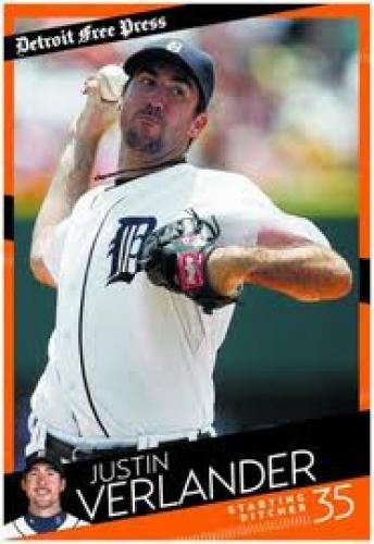 Baseball Card; Detroit Tigers baseball cards;Justin Verlander
