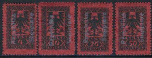 Postage due overprints 4v; Year: 1925