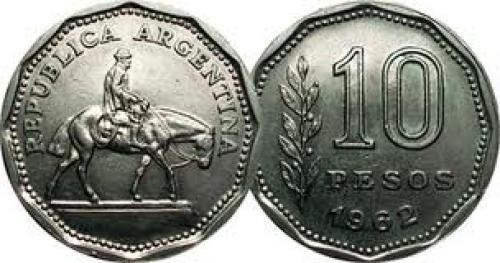 Coins; Argentina 10 Pesos 1962 to 1968