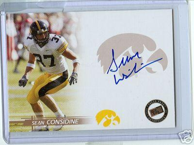 Sean Considine certified autograph Iowa 2005 Press Pass card