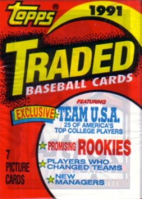 1991 Topps Traded pack with Jeff Bagwell Rookie Card showing