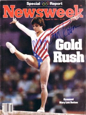 Mary Lou Retton autographed 1984 Olympics Newsweek magazine
