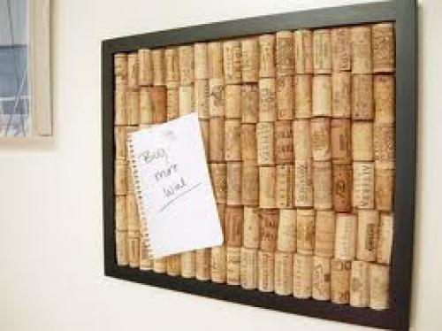 Crafts; Handmade Wine Cork Memory Board