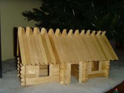 Crafts; Handmade Popsicle Stick Log Cabins